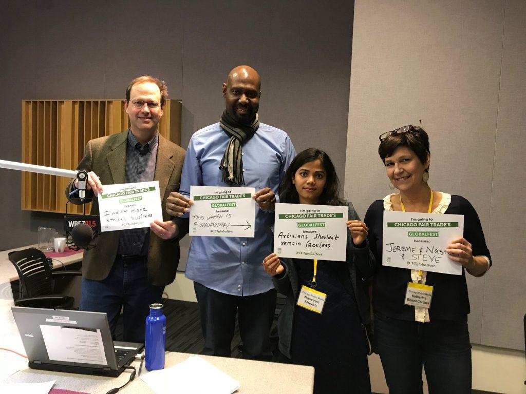 Jerome McDonnell, Steve Bynum, Nasreen Sheikh, and Katherine Bissel Cordova promoting CFT's Globalfest
